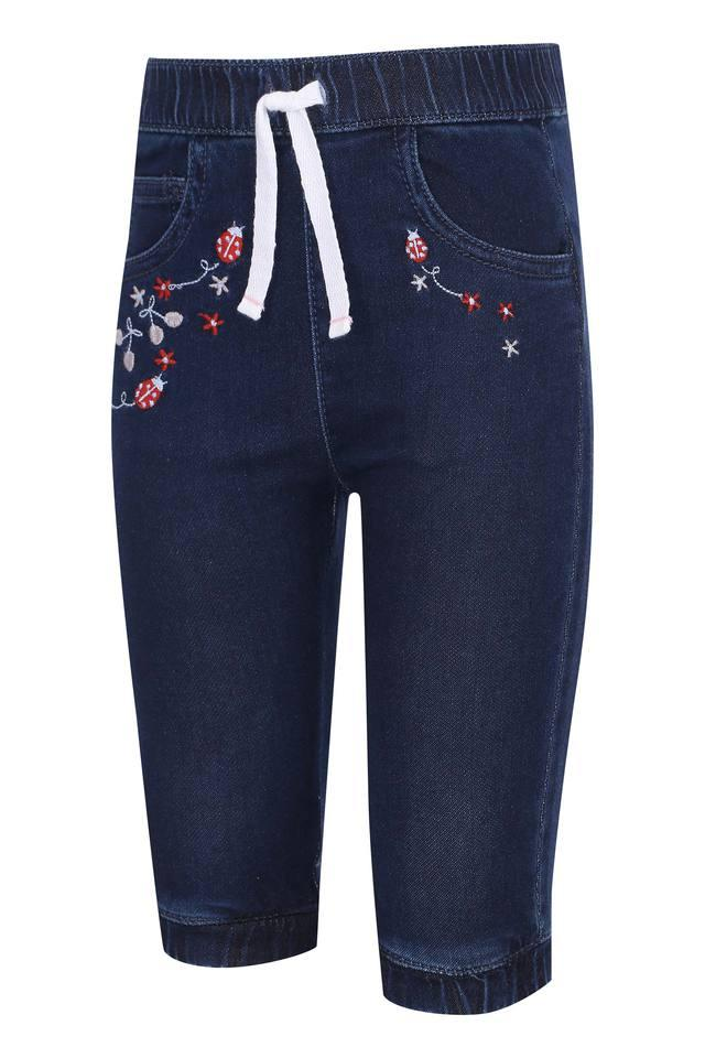 Girls 3 Pocket Embroidered Joggers