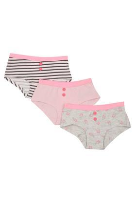 Girls Printed Solid and Striped Briefs - Pack Of 3