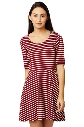 Womens Round Neck Striped Skater Dress