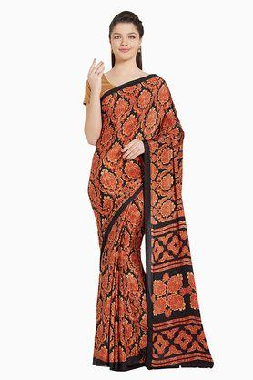 JASHN Womens Red Ethnic Motif Print Crepe Saree