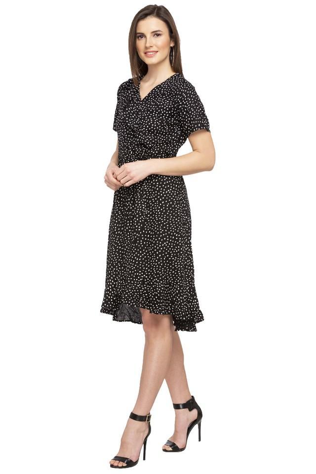 Womens Surplice Neck Printed Wrap Dress