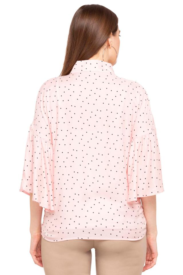 Womens Tie Up Neck Dot Pattern Top