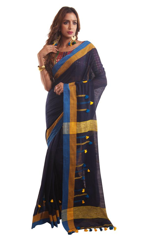 Women Cotton Checks Saree