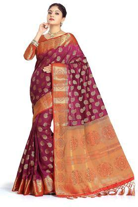 DEMARCA Womens Art Silk Tussar Designer Saree - 204100136_9654