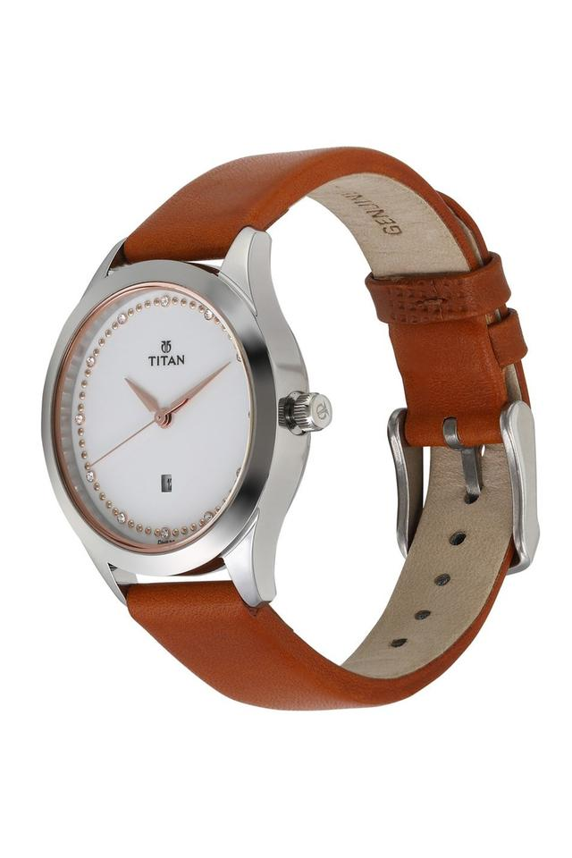 Womens Sparkle White Dial Leather Analogue Watch - 2570SL02
