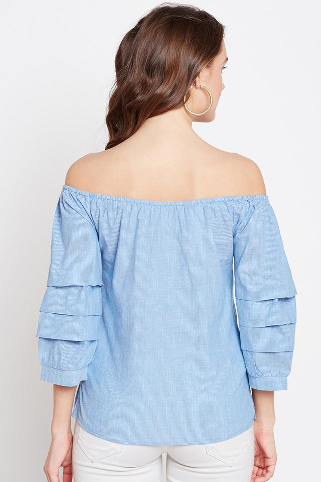 Womens Off Shoulder Striped Top
