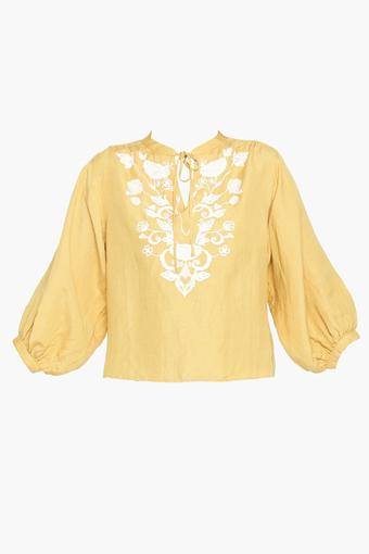 Womens Tie Up Neck Embroidered Top