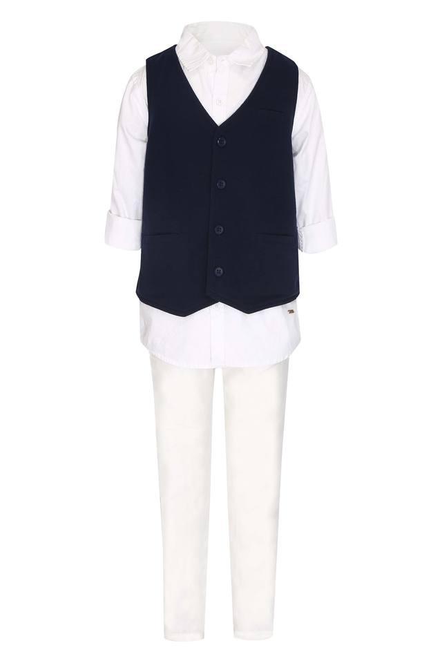 Boys Solid Shirt With Waistcoat