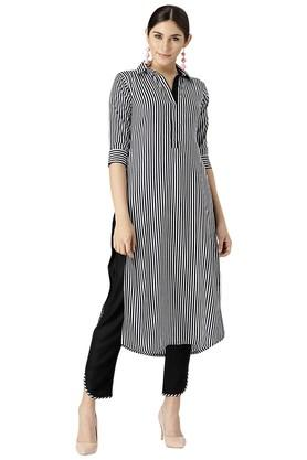 Womens Rayon Stripes Kurta And Trouser