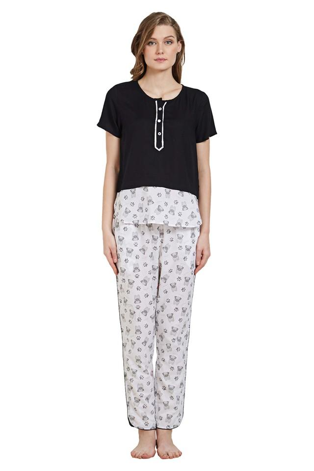 Womens Round Neck Printed Top and Pyjamas