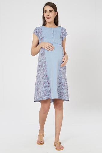 Maternity Round Neck Floral Print Maternity Dress