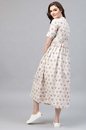 Womens Mandarin Neck Printed Flared Dress