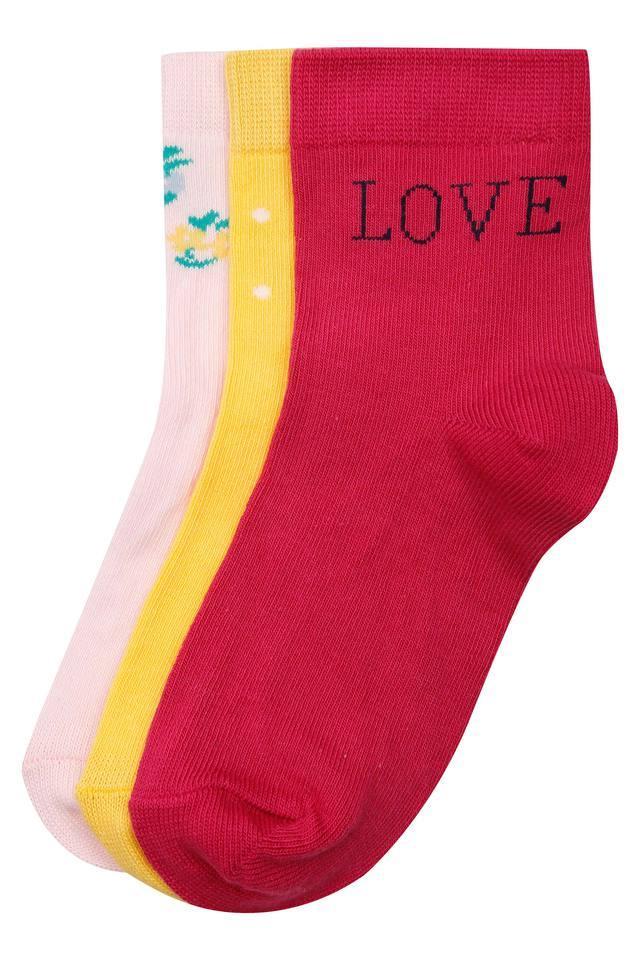 Girls Solid Socks Pack of 3