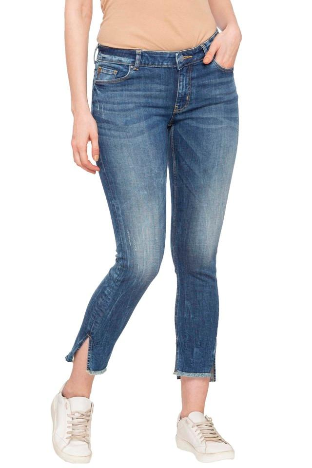 Womens Skinny Fit Whiskered Effect Jeans