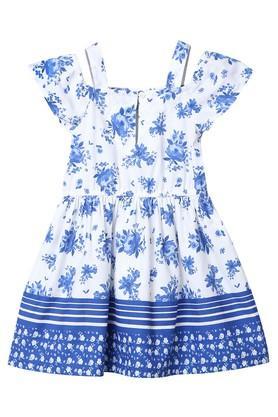 Girls Off Shoulder Floral Print Dress