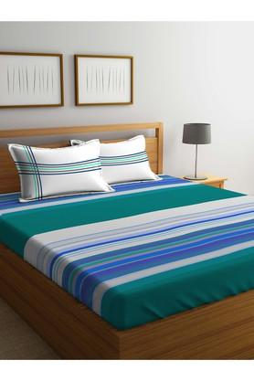 PORTICOStripe Double Fitted Bed Sheet With Pillow Cover - 203990055_9900