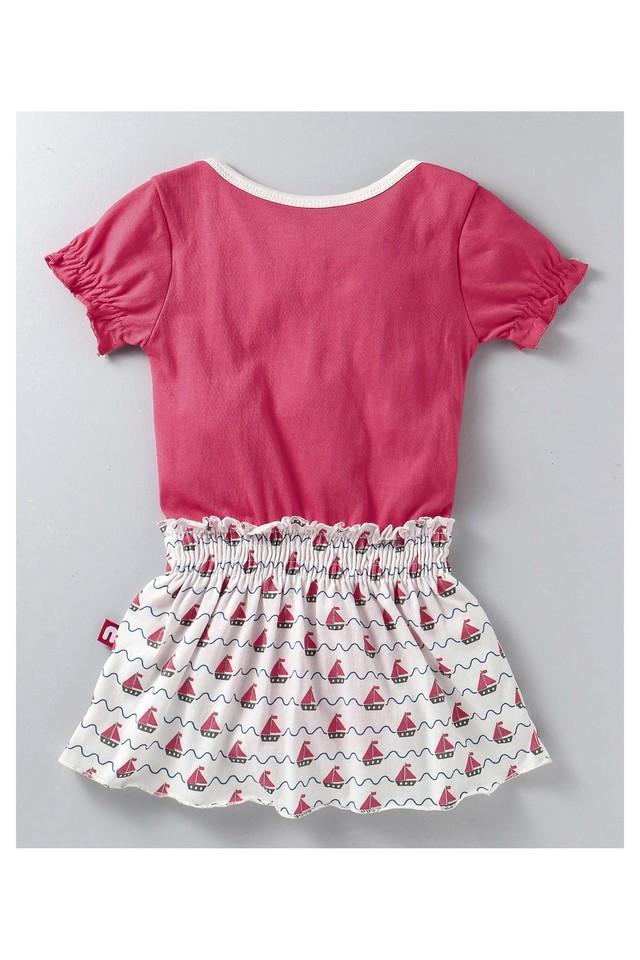 Girls Envelope Neck Printed Flared Dress