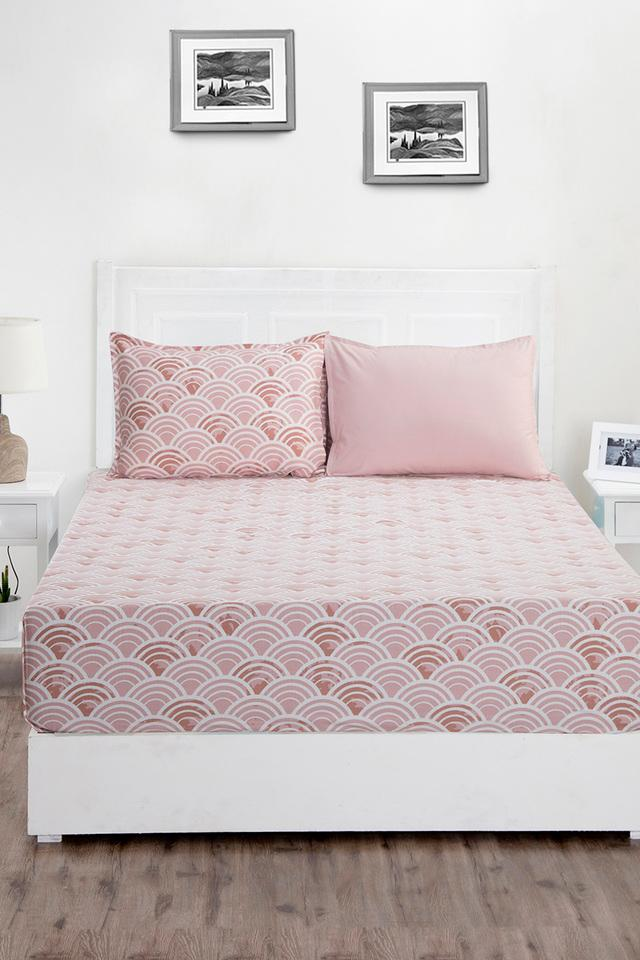 Superfine Cotton Pink King Bedsheet with 2 Pillow Covers - 210 TC