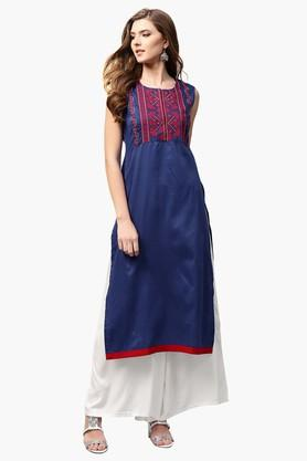 LIBASWomens Round Neck Embroidered Straight Fit Kurta - 203367627