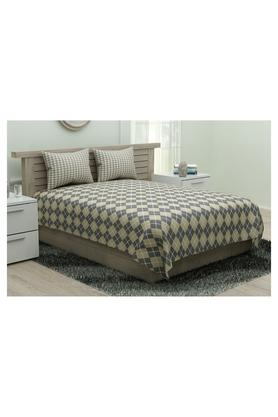 PORTICOGeometric Printed Double Bed Sheet With Pillow Cover