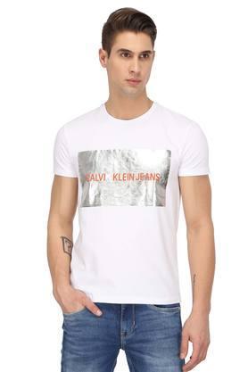 12f7ed52a0eb6 X CALVIN KLEIN JEANS Mens Round Neck Graphic Print T-Shirt