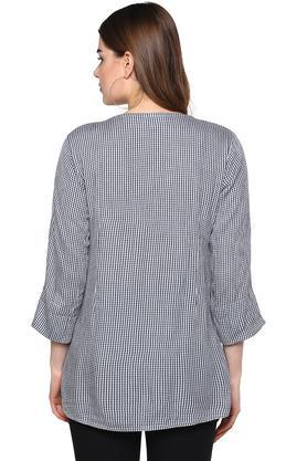 Womens V Neck Check Embroidered Kurta