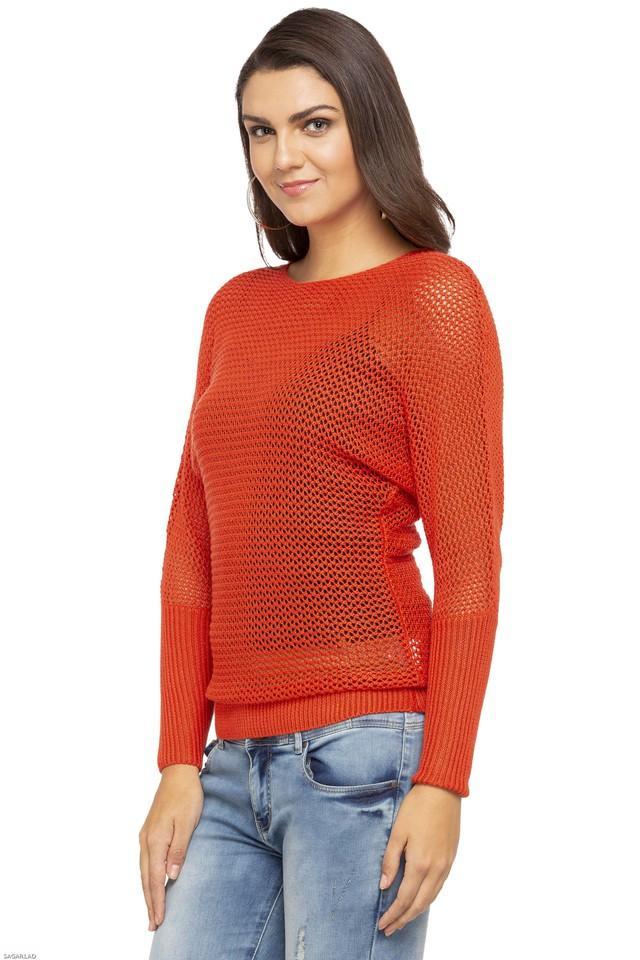 Womens Round Neck Slub Knitted Sweater