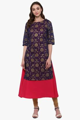 JUNIPER Womens Chanderi Silk Brocade Foil Print Layered Festive Kurta
