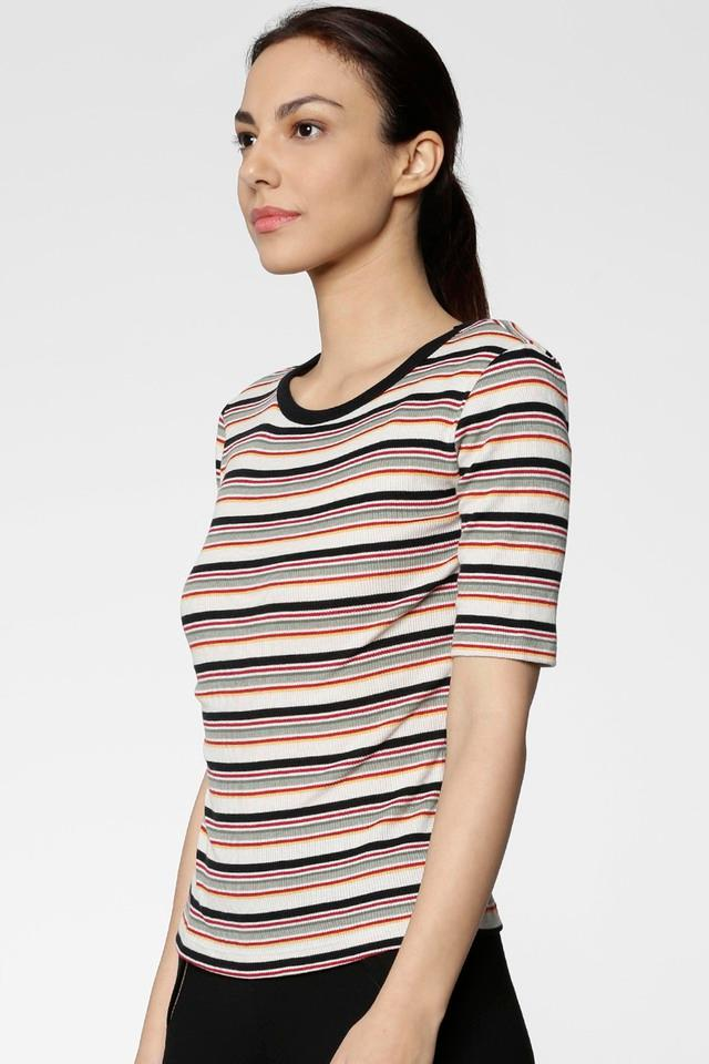Womens Slim Fit Round Neck Stripe Top