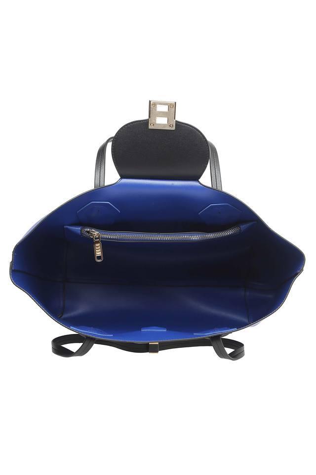 Womens Metallic Lock Tote Handbag