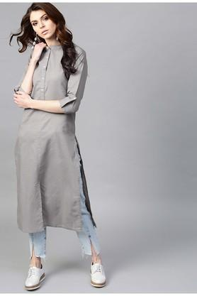 GERUA Women Cotton Solid Straight Kurta With One Side Pocket