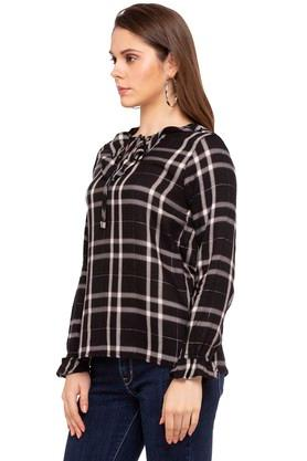Womens Tie Up Neck Checked Top