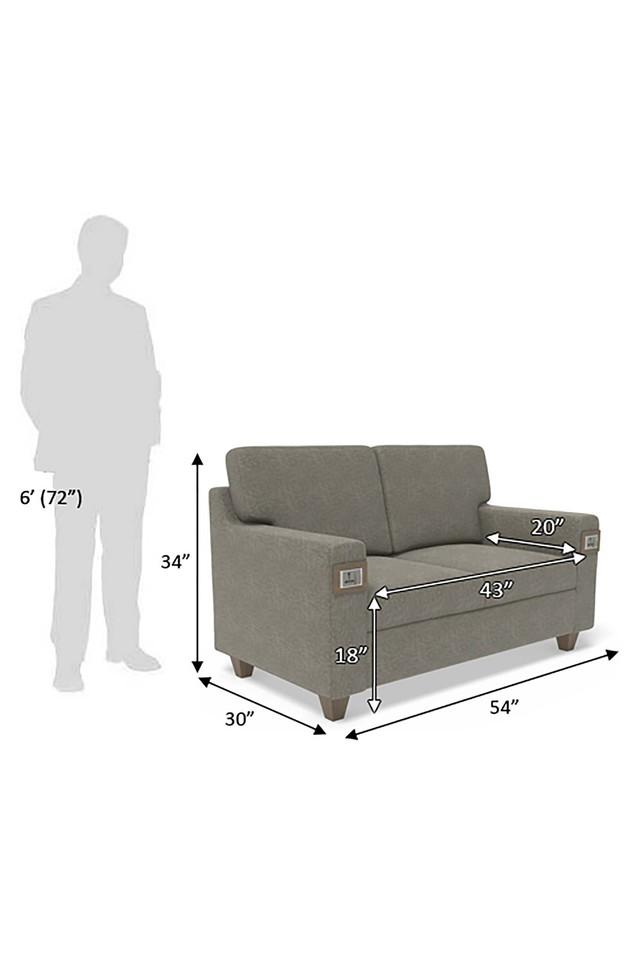 Self Pattern 2 Seater Sofa with 6 Amp Modular Switch