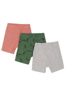 Boys Printed Slub and Striped Shorts - Pack Of 3