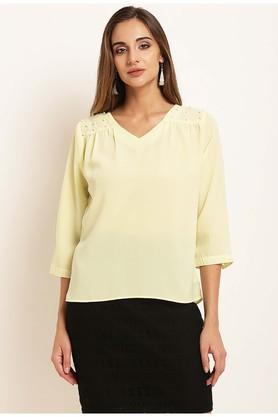 Womens V-Neck Embellished Top