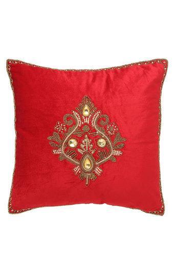 Square Zari Embroidered Cushion Cover