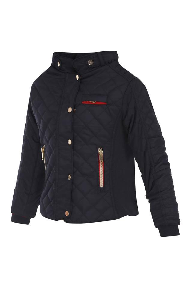 Girls Mandarin Neck Solid Jacket