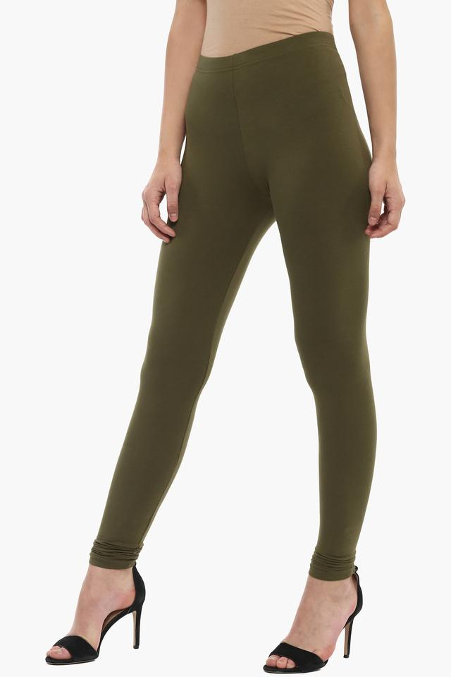 Womens Solid Full Length Leggings