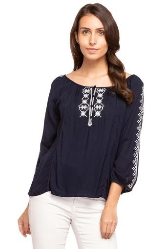Womens Boat Neck Solid Embroidered Top
