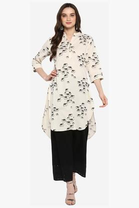 JUNIPER Womens Embroidered Long Kurta With Piping Detailing