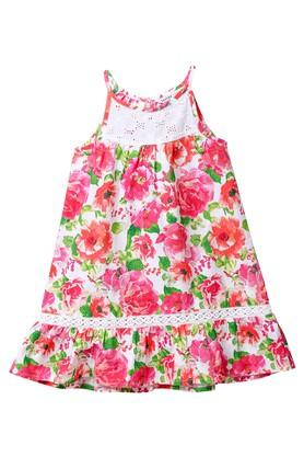 Girls Spaghetti Neck Floral Print Dress