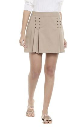 VERO MODA Womens Solid Pleated Short Skirt