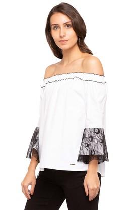 Womens Off Shoulder Solid Lace Top