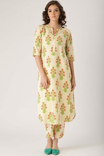 Womens Mandarin Neck Floral Kurta and Pant Set
