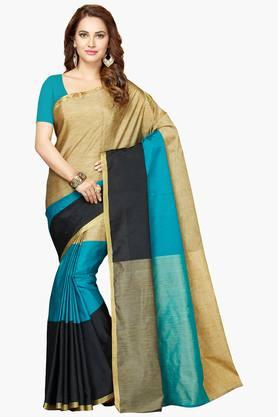 ISHIN Womens Poly Cotton Zari Work Saree