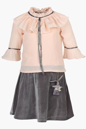 Girls Ruffled Collar Solid Top and Skirt Set