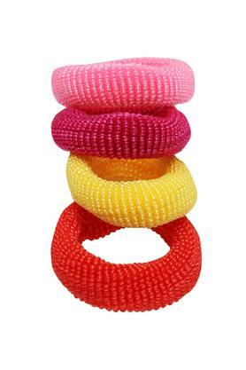 Girls Solid Rubber Band and Clips Pack of 5