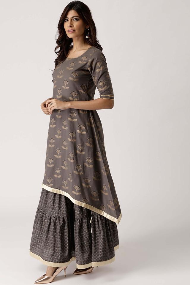 Womens Round Neck Printed Kurta and Skirt Set