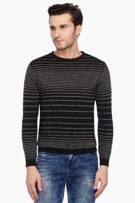 KILLERMens Regular Fit Round Neck Stripe Sweater