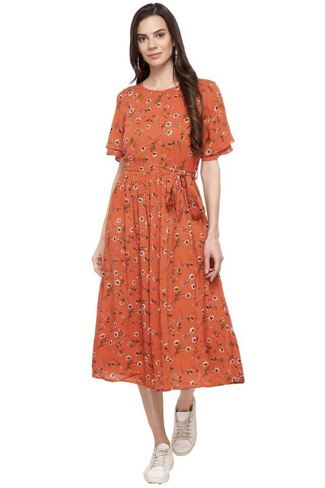 Womens Round Neck Printed Midi Dress